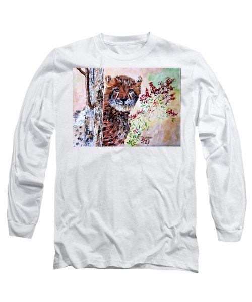 Cheetah Behind A Tree Long Sleeve T-Shirt