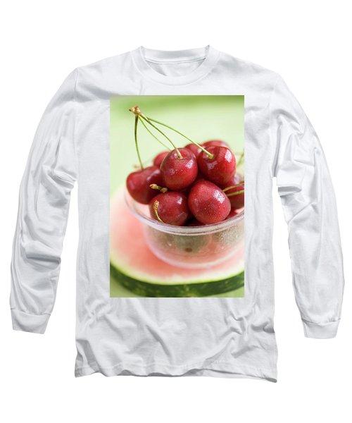 Cherries In Plastic Tub On Slice Of Watermelon Long Sleeve T-Shirt