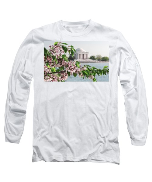 Long Sleeve T-Shirt featuring the photograph Cherry Blossoms And The Jefferson Memorial 2 by Mitchell R Grosky