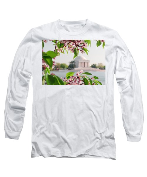 Long Sleeve T-Shirt featuring the photograph Cherry Blossoms And The Jefferson Memorial by Mitchell R Grosky