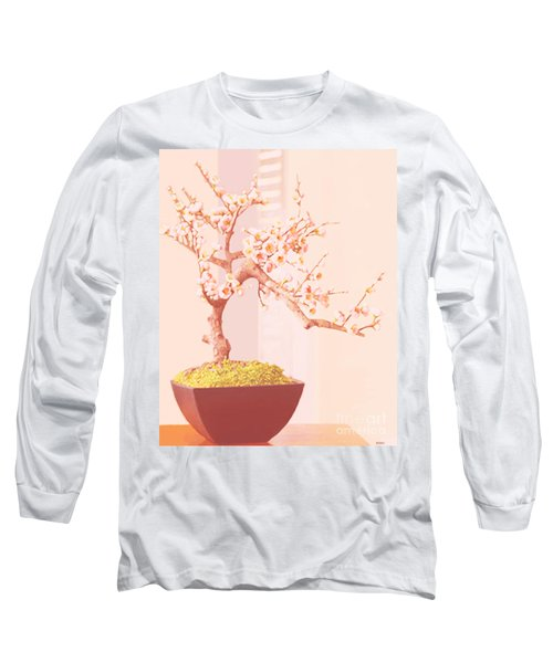 Long Sleeve T-Shirt featuring the painting Cherry Bonsai Tree by Marian Cates