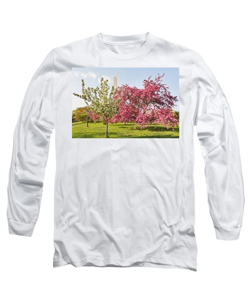 Cherry Trees And Washington Monument Three Long Sleeve T-Shirt by Mitchell R Grosky
