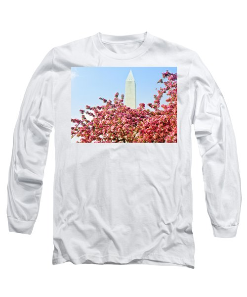 Cherry Trees And Washington Monument Two Long Sleeve T-Shirt by Mitchell R Grosky