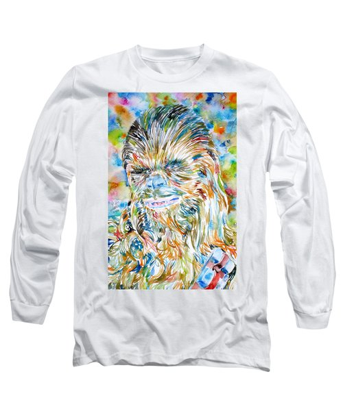 Chewbacca Watercolor Portrait Long Sleeve T-Shirt