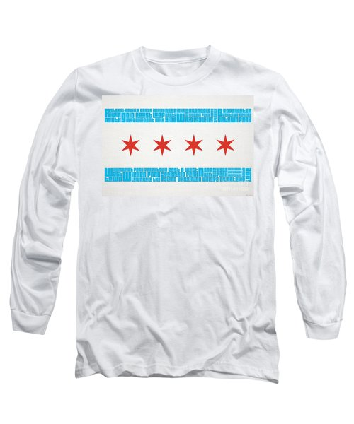 Chicago Flag Neighborhoods Long Sleeve T-Shirt by Mike Maher