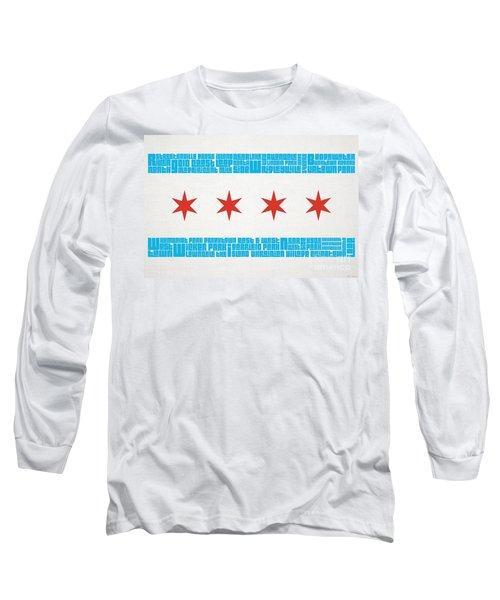 Chicago Flag Neighborhoods Long Sleeve T-Shirt