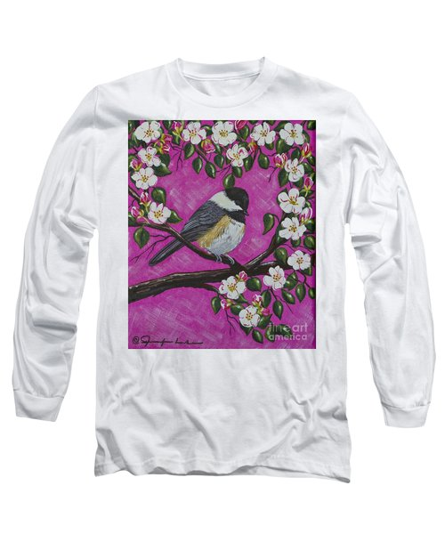 Chickadee In Apple Blossoms Long Sleeve T-Shirt