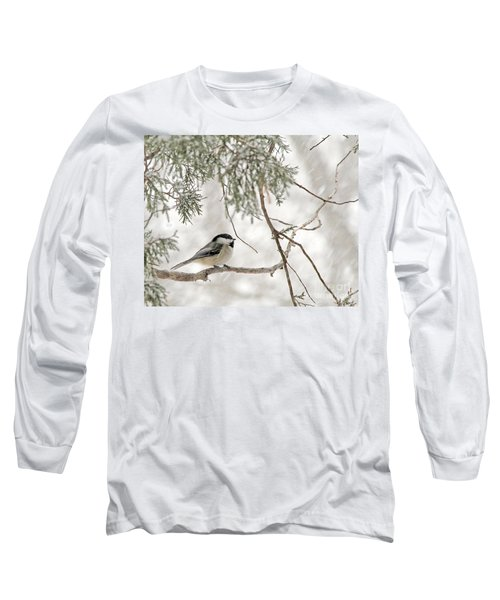 Long Sleeve T-Shirt featuring the photograph Chickadee In Snowstorm by Paula Guttilla