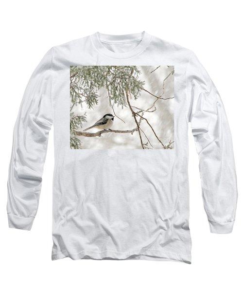 Chickadee In Snowstorm Long Sleeve T-Shirt by Paula Guttilla