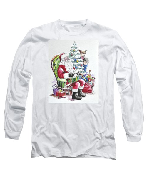 Childre Sneaking Around Santa Long Sleeve T-Shirt