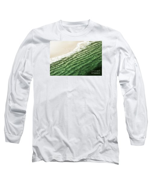 Long Sleeve T-Shirt featuring the photograph China Beach Wave Ocean Theme Pillow Print Tote by Artist and Photographer Laura Wrede