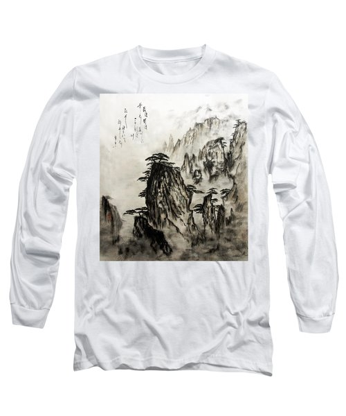 Long Sleeve T-Shirt featuring the painting Chinese Mountains With Poem In Ink Brush Calligraphy Of Love Poem by Peter v Quenter