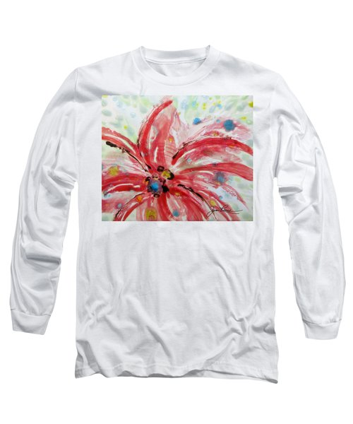 Long Sleeve T-Shirt featuring the painting Chinese Red Flower by Joan Reese