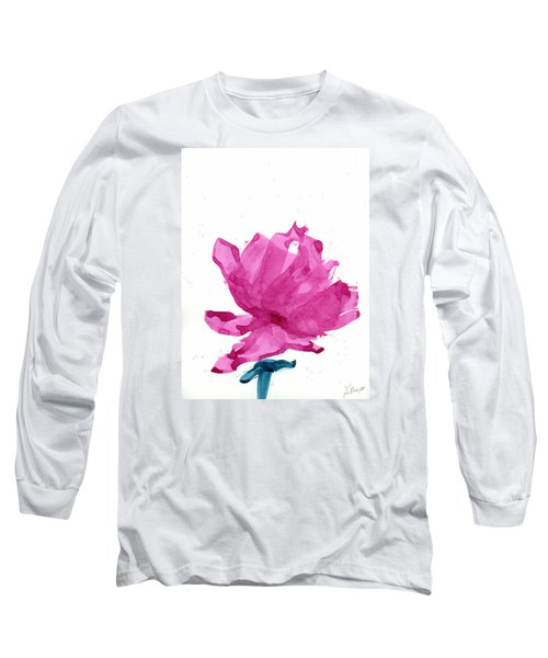 Long Sleeve T-Shirt featuring the painting Chinese Rose Hibiscus by Frank Bright