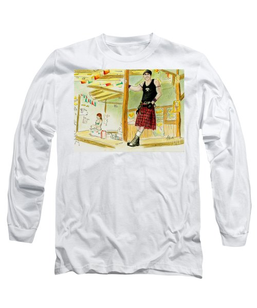 Long Sleeve T-Shirt featuring the painting Chris At The Broken Spoke Saloon by Albert Puskaric