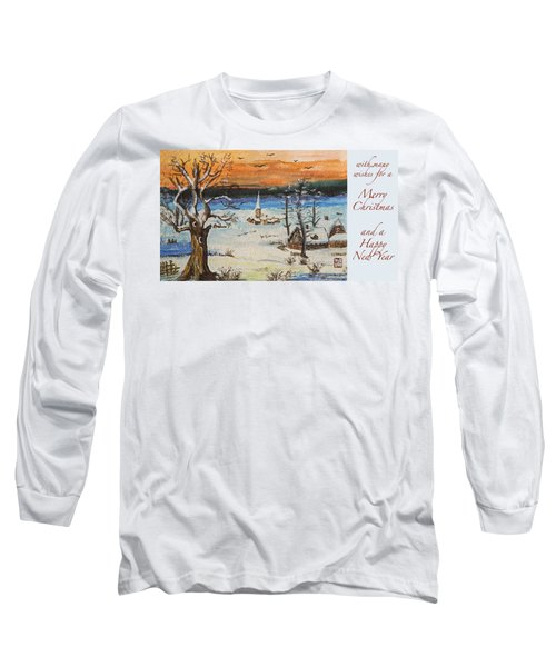 Long Sleeve T-Shirt featuring the painting Christmas Card Painting by Peter v Quenter