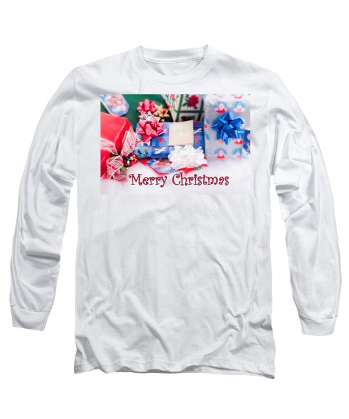 Long Sleeve T-Shirt featuring the photograph Christmas Presents On Artificial Snow by Vizual Studio