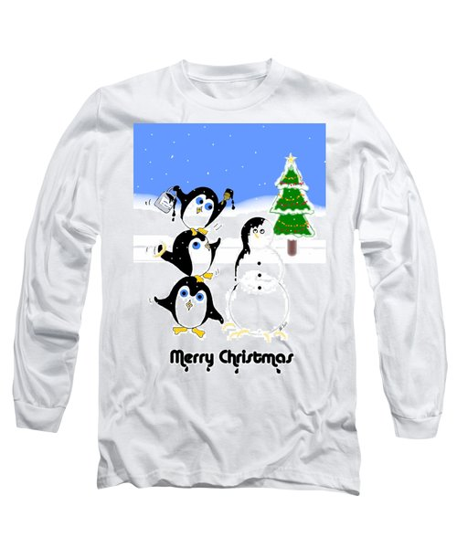 Long Sleeve T-Shirt featuring the digital art Christmas Penguins by Stephanie Grant