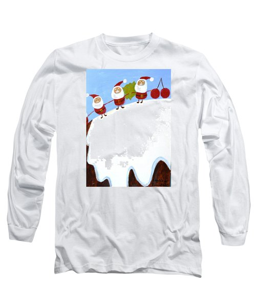 Christmas Pudding And Santas Long Sleeve T-Shirt by Magdalena Frohnsdorff