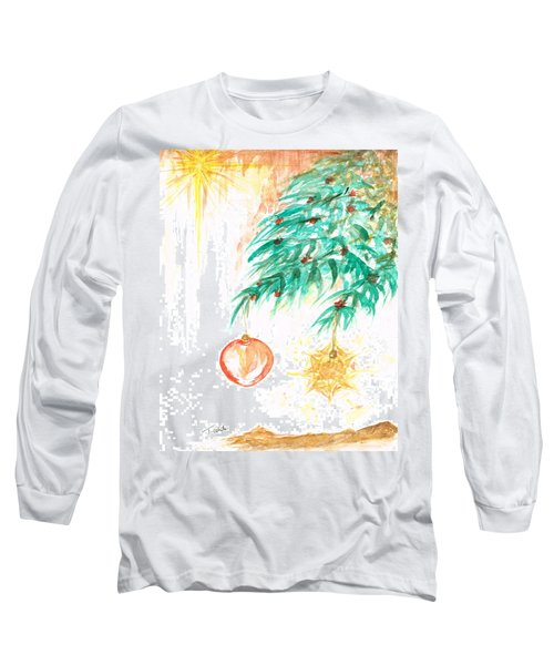 Long Sleeve T-Shirt featuring the painting Christmas Star by Teresa White