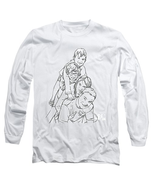 Long Sleeve T-Shirt featuring the drawing Christmas Tree by Olimpia - Hinamatsuri Barbu