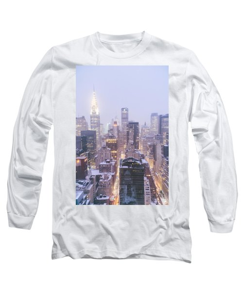 Chrysler Building And Skyscrapers Covered In Snow - New York City Long Sleeve T-Shirt