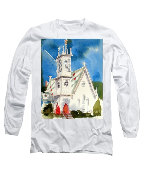 Church With Jet Contrail Long Sleeve T-Shirt