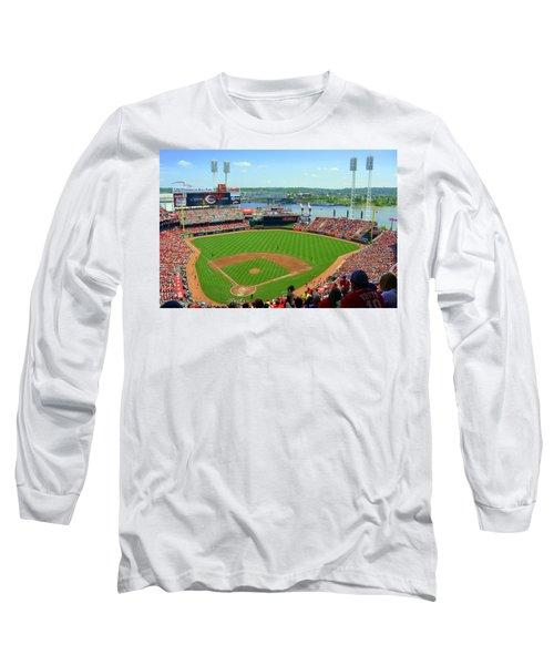 Cincinnati Reds Stadium Long Sleeve T-Shirt by Kathy Barney