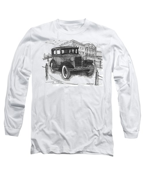 Classic Auto With Mills Mansion Long Sleeve T-Shirt