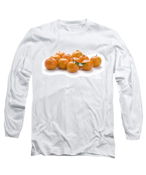 Long Sleeve T-Shirt featuring the photograph Clementine Oranges On White by Lee Avison