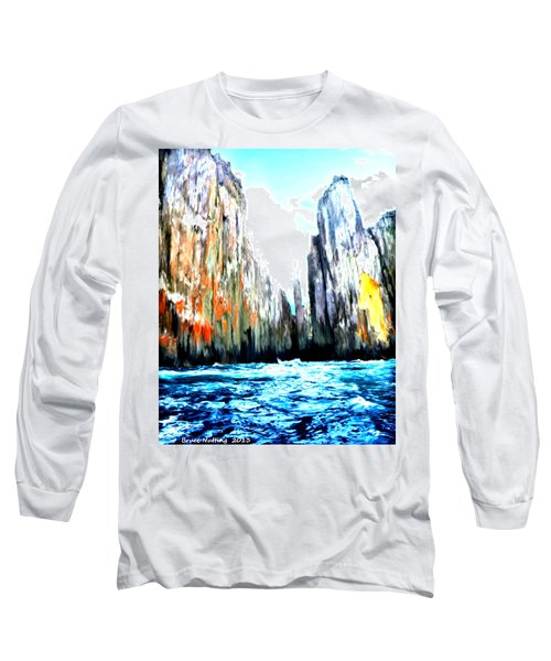 Long Sleeve T-Shirt featuring the painting Cliffs By The Sea by Bruce Nutting