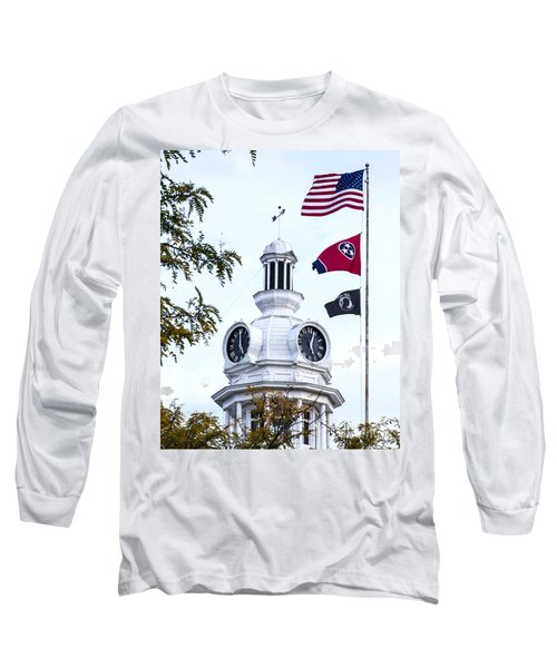 Clock Tower With Tennessee Mia Us Flag Art Long Sleeve T-Shirt