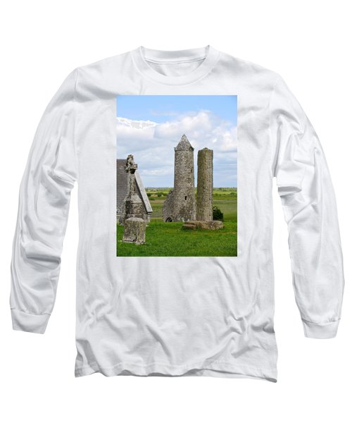 Long Sleeve T-Shirt featuring the photograph Clonmacnoise Towers by Suzanne Oesterling