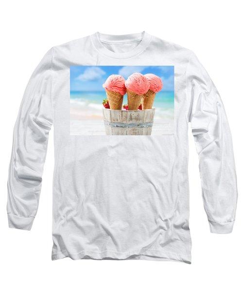 Close Up Strawberry Ice Creams Long Sleeve T-Shirt