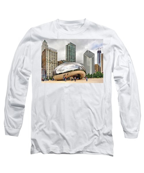 Cloud Gate In Chicago Long Sleeve T-Shirt by Mitchell R Grosky