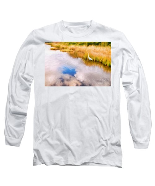 Cloud Reflection In Water Digital Art Long Sleeve T-Shirt by Vizual Studio