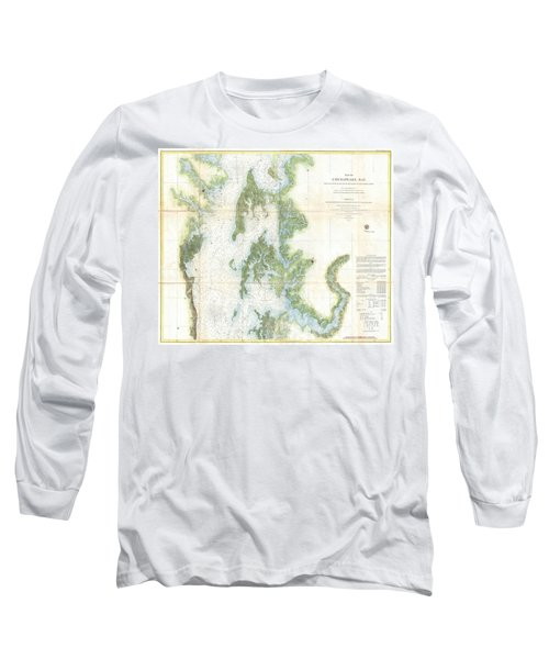 Coast Survey Chart Or Map Of The Chesapeake Bay Long Sleeve T-Shirt by Paul Fearn