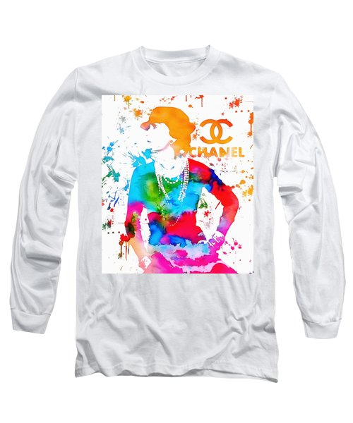 Coco Chanel Paint Splatter Long Sleeve T-Shirt