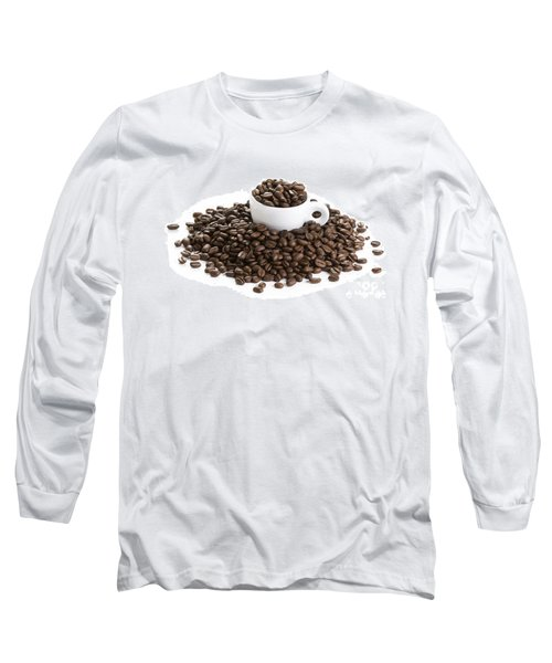 Long Sleeve T-Shirt featuring the photograph Coffee Beans And Coffee Cup Isolated On White by Lee Avison