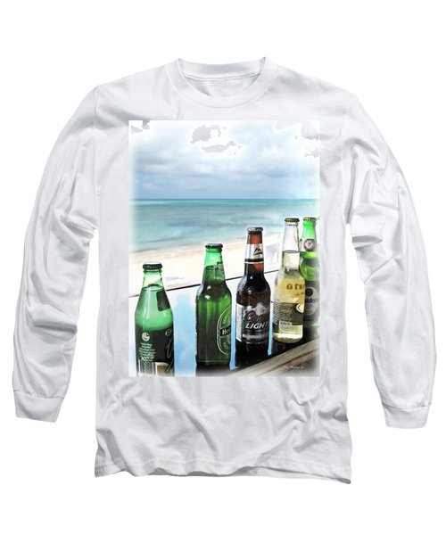 Cold Beers In Paradise Long Sleeve T-Shirt by Joan  Minchak