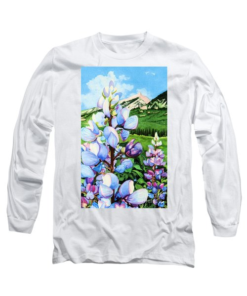 Colorado Summer Blues Close-up Long Sleeve T-Shirt by Barbara Jewell