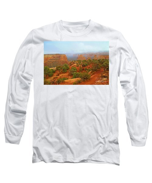 Colorado Natl Monument Snow Coming Down The Canyon Long Sleeve T-Shirt