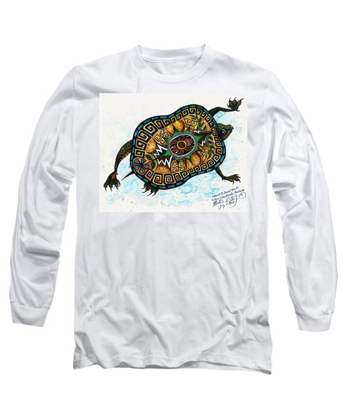 Colored Cultural Zoo C Eastern Woodlands Tortoise Long Sleeve T-Shirt by Melinda Dare Benfield