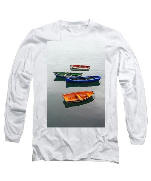 colorful boats on Santurtzi Long Sleeve T-Shirt