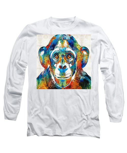 Colorful Chimp Art - Monkey Business - By Sharon Cummings Long Sleeve T-Shirt by Sharon Cummings