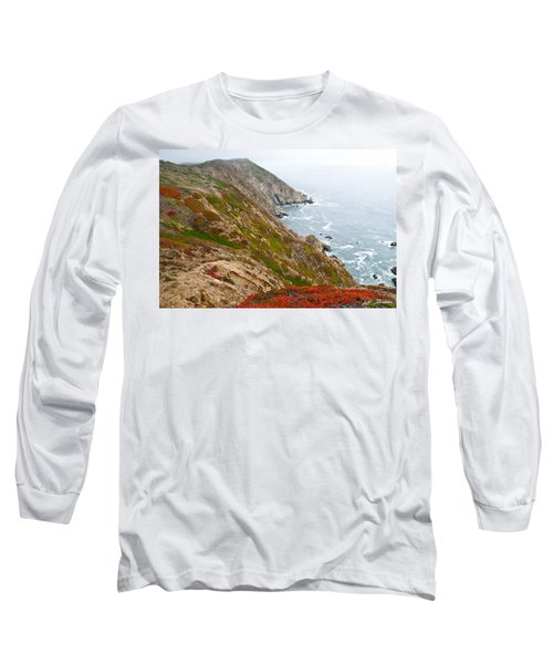 Colorful Cliffs At Point Reyes Long Sleeve T-Shirt by Jeff Goulden