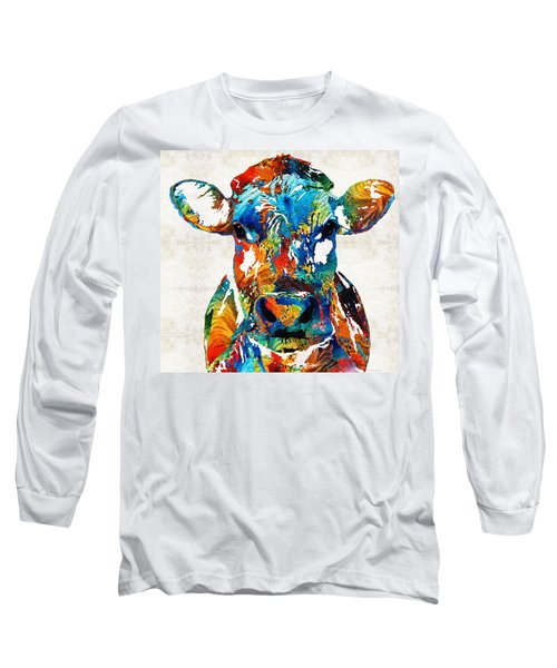 Colorful Cow Art - Mootown - By Sharon Cummings Long Sleeve T-Shirt