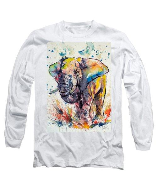 Colorful Elephant Long Sleeve T-Shirt by Kovacs Anna Brigitta