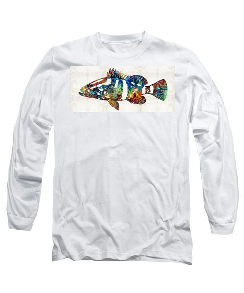 Colorful Grouper 2 Art Fish By Sharon Cummings Long Sleeve T-Shirt