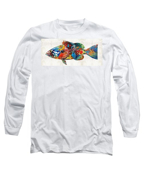 Colorful Grouper Art Fish By Sharon Cummings Long Sleeve T-Shirt